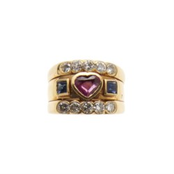 18kt yellow gold, ruby, sapphire and diamond ring