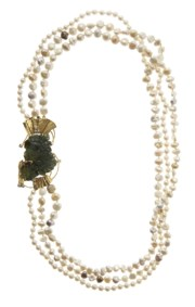 18kt yellow gold, cultured pearls, green gemstone, diamond and ruby necklace