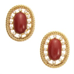 18kt yellow gold, coral and diamond earrings
