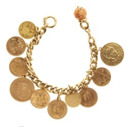 18kt yellow gold and charm bracelet